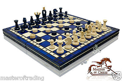 GREAT ''BLUE KINGDOM'' WOODEN CHESS AND DRAUGHTS SET HAND CRAFTED 35x35cm