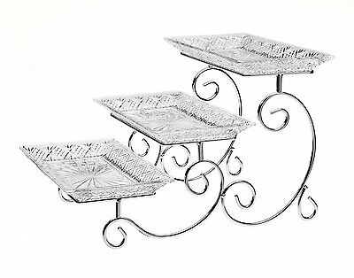 3 tier Dessert Stand Cake Buffet Party Wedding Luxury Serving Glass Cupcake Tray