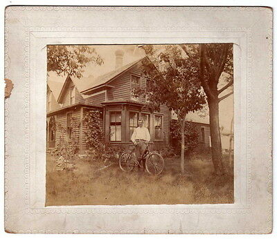 Vintage Photo Man With Bicycle In Front Of House Circa 1900