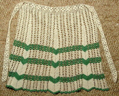 Vintage Crocheted Hostess Apron Green White Nice Design