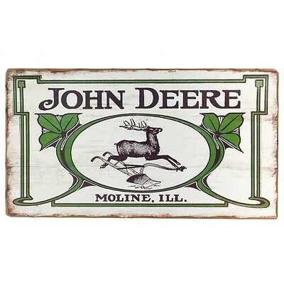 John Deere Moline Illinois Location Wood Sign Vintage Style Farming Decor