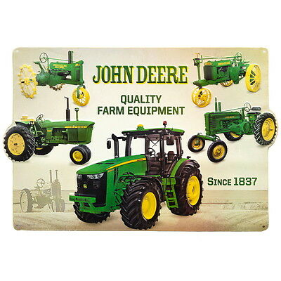 John Deere Tractor Collage Embossed Tin Sign Garage Decor 18 x 12