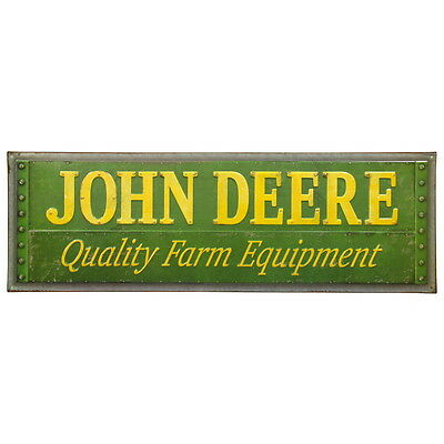 John Deere Quality Metal Screws Embossed Tin Sign Garage Decor 30 x 10