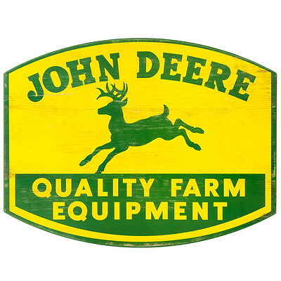 John Deere Quality Farm Equipment Wood Sign Garage Decor Vintage Style 19 x 15
