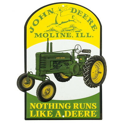 John Deere Tractor Moline Illinois Embossed Tin Sign Farm Barn Garage Decor