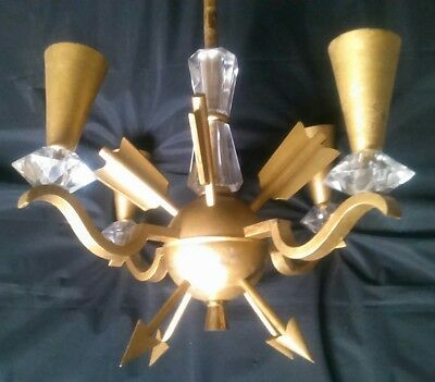 Suspension lustre chandelier flèches bronze et verre 1940 style Empire