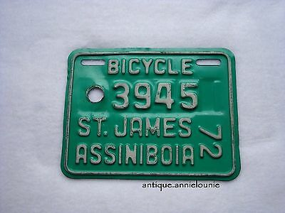 1972 ST.JAMES ASSINIBOIA, MANITOBA Bicycle License Plate # 3945