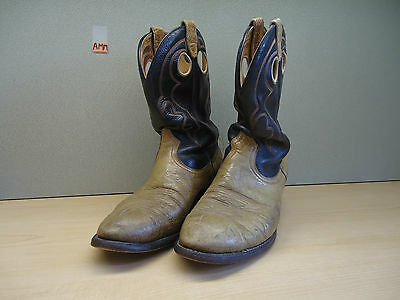 Mens Vintage Black Lt-Brown Leather Cowboy/western Boots Made In Canada 9.5 Wide