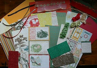 Christmas 1 WEBSTER ContrastCardKits 6 Pattern & 3 Cstock 12x6 & Ribbons Mixture