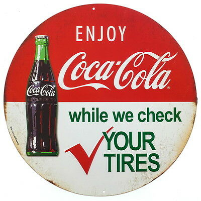 Coca-Cola Bottle Tire Check Embossed Tin Sign Vintage Style Diner Decor 12 x 12