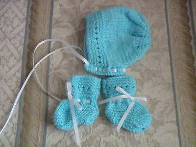 Hand Knitted Baby Bonnet & Booties Turquoise - FREE SHIPPING