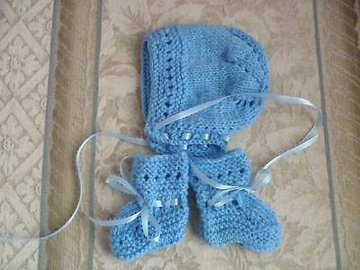 Hand Knitted Baby Bonnet & Booties Blue - FREE SHIPPING