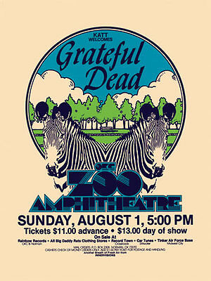 Grateful Dead Oklahoma City Zoo Amphitheatre Poster Jerry's 40th Birthday