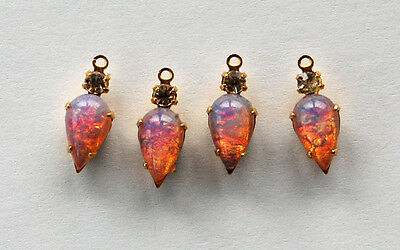 VINTAGE FIRE OPAL TEAR DROP PENDANT BEADS SWAROVSKI RHINESTONE 6x15mm • BRASS