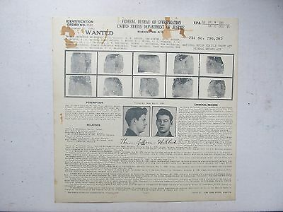 1938 FBI WANTED POSTER, Car Theft, Macedon NY, J Edgar Hoover Police, Gangster