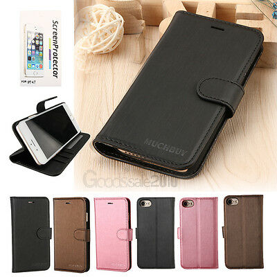 Leather Flip Wallet Phone Case Stand Cover+Screen Protector for iPhone 8 7 Plus