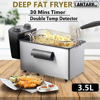 Lantark Electric Deep Fat Fryer Fish Chip Basket 3.5L Stainless Steel with Timer