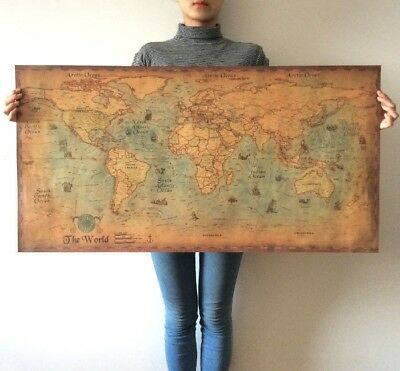 "Large Vintage Paper World Map Poster navigational Chart Home Art Decor 28""x14"""