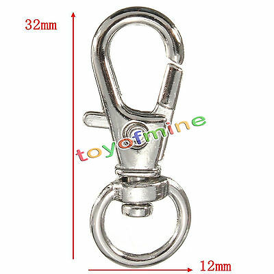 Silver Metal Swivel Lobster Clasp Clips Hook Keychain Split Key Ring Findings