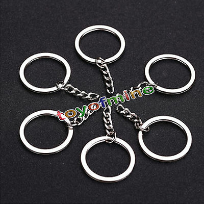 25mm 5/10/20/50 Keyring Blanks Keychain Key Fob Split Rings 4 Link Chains
