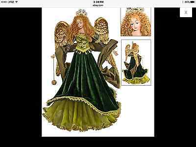 """Katherine's Collection Angel green gold tapestry tabletop/ tree topper 20"""""""