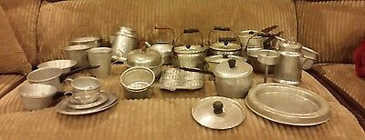 39pcs.Vintage Child Toy Aluminum & Metal Play Kitchen Cookware Pots Pans Dishes