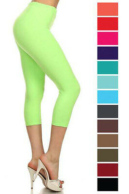 New Women's Solid High Waist Capri Leggings S-XL Soft Stretchy One Size 128