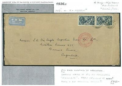 1936.2 1936 10s Re-Engraved Seahorses Commercial £1 Rate Airmail Shotton/