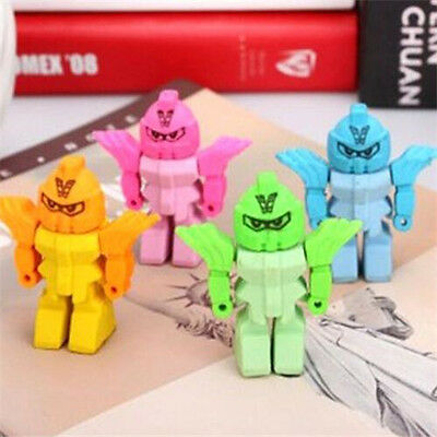 Removable Creative Robots Eraser Rubber Pencil Stationery Child Toy 1pc