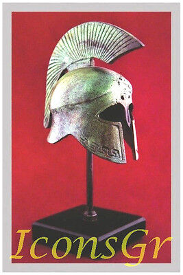 Ancient Greek Bronze Museum Replica Vintage Spartan Officer Battle Helmet 300bro