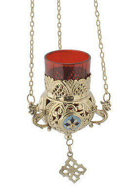 Orthodox Church Hanging Oil Lamp Greek Byzantine Brass With Cross 9685B