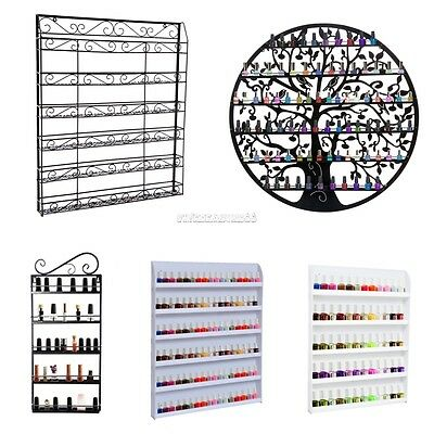 5/6 Tier Nail Polish Wall Mount Organizer Rack Shelf Metal Holds For Storage