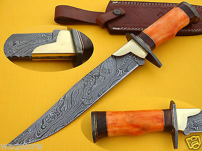 Hand Made Damascus Hunting Knife With Stained Bone Handle