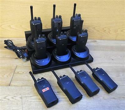 10x Motorola CP040 4 Ch. UHF 438-470MHz Radio with 6x Port Charging Station