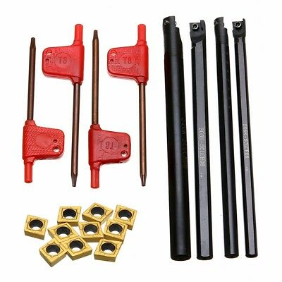 6/7/8/10mm SCLCR06 Turning Tools Lathe Boring Bar W/ 10x CCMT060204-HM Inserts