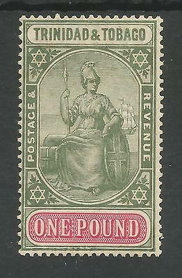 TRINIDAD & TOBAGO SG156a THE 1918 GV £1 DP YELLOW GREEN&CARMINE FINE MINT C.£250