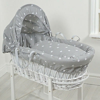 New 4Baby Grey White Stars White Wicker Deluxe Padded Baby Moses Basket