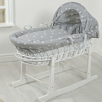 New 4Baby Grey White Stars White Wicker Padded Baby Moses Basket & Rocking Stand