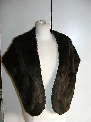 Vintage 1940s/50s real fur wrap dark chocolate brown with pockets size 8-14 UK