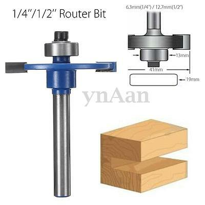 1/4''/1/2'' Shank Biscuit Cutter Router Bit Bearing Woodworking Tool Joiner Set