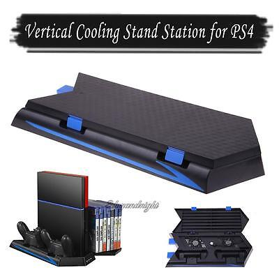 3HUB Port Vertical Stand Cooling Fan+Two Charging Station for Sony PlayStation4