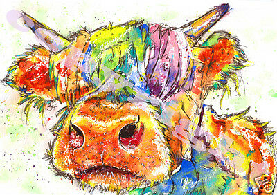 HIGHLAND COW PRINT of Original Watercolour Scottish Painting Watercolor Picture