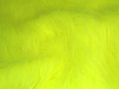 LONG Pile Fun Faux Fur Fabric Material - FLUORESCENT YELLOW