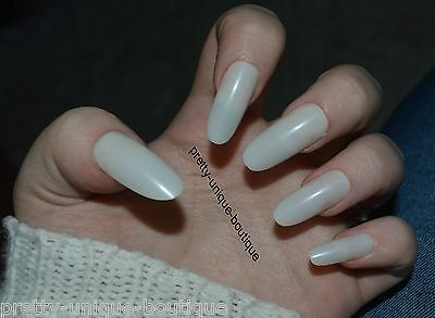 50 X False Nails Full Cover Oval Long Natural Sizes 0 To 9 Uk Seller