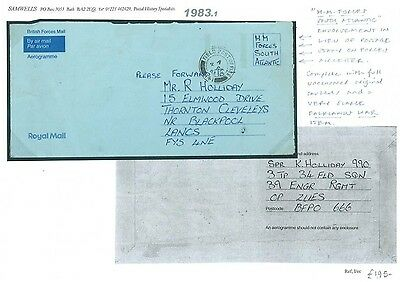 1983.1 GB FORCES SOUTH ATLANTIC Airletter Falklands Islands GB Lancs Blackpool