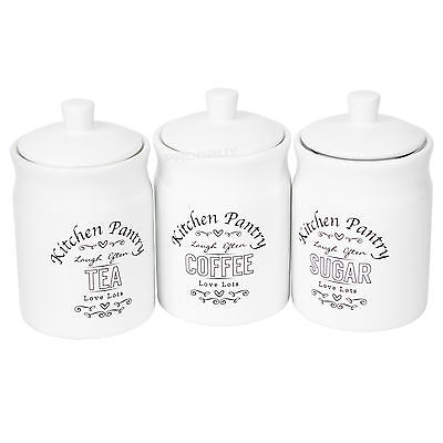 White Ceramic Kitchen Pantry Tea Coffee Sugar Canisters Storage Jars Containers