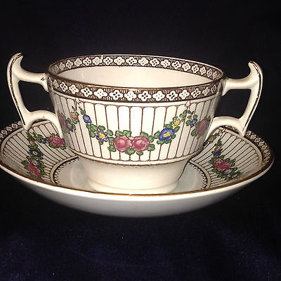 Booths 9852 Cream Soup Bowl & Saucer Pointed Handles Floral Swags Lines Brown