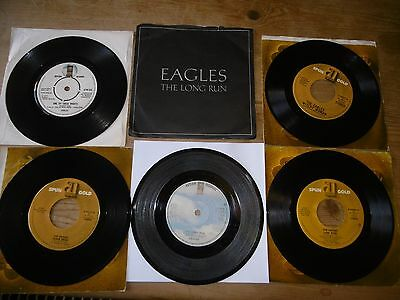 """EAGLES ~ 5 X  7"""" vinyl singles - Hit songs  - VG to EX (all tested)"""