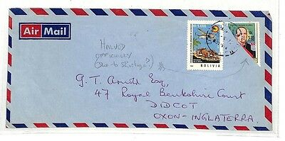AC256 c1975 Bolivia GB Didcot Cover Stamp Halves Officially {samwells-covers}PTS
