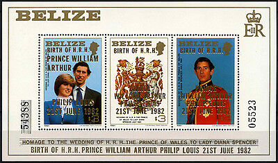 Belize 1982 SG#MS720 Royal Birth MNH Large Overprint MNH M/S Sheet #D43291